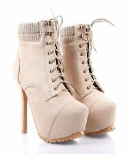 Beige nn Faux Suede Lace Up Stilettos Mid Calf Womens High Heels Boots Size 6