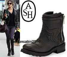 ��New in Box~ Ash ~ Fashion Leather Motorcycle Boots Shoes, Black, EUR 38