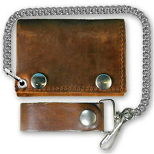 Distressed Brown Leather Chain Wallet - Tri-Fold - For Bikers - USA Made