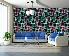 ABSTRACT COLOURS BUBBLE SQUARES 3D RETRO Photo Wallpaper Wall Mural 335X236cm