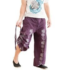 Bloomers Convertible Harem Trousers Aladdin Pants Hindu Om Script Pattern Purple