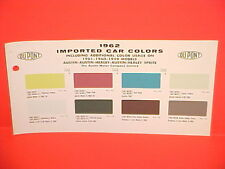 1962 AUSTIN HEALEY SPRITE MARK II A-60 A60 PRINCESS 3 LITRE PAINT CHIPS CHART 62