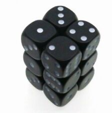 Chessex Dice d6 Sets Opaque Black with White 16mm Six Sided 12 Die Set CHX 25608