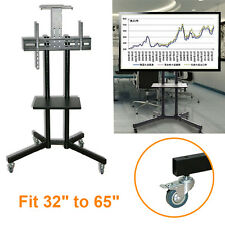 Trolley Floor Stand Mounting Mobile Cart With Wheels Fit 32''-65'' LED LCD TV UK