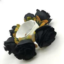 Women Ladies Bridal Flower Floral Bun Garland Head Knot Hair Top Scrunchie Band
