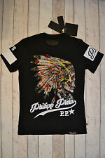 "BNWT PHILIPP PLEIN NATIVE AMERICAN INDIAN SKULL ""FINE"" T-SHIRT SIZE XL BLACK"