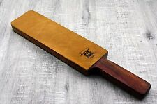 Pure Rose Wood Handle Extra Wide Leather Stick 2 Sided Strop for better stroping