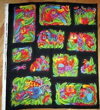 """1 Laurel Burch OOP RARE """"Jungle Soul"""" Flannel Quilting Crafting Fabric Panel"""