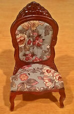 Dollhouse Victorian Lady's Chair with Floral Babric