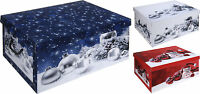 Lovely Large Christmas Decoration Cardboard Storage Boxes with Lids & Handles
