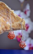 Red Hawaiian Sunrise Shells (Pecten Langfordi) on Pearls + Plumeria Flowers