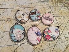 Set of 6 Oval Cabochon Silver Charm Pendants 18 x 25mm Shabby Birds and Flowers