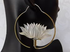Lotus Carved Shell .925 Sterling Silver Hook Earrings Boho Jewelry Gift for Yogi