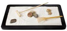 Wooden Tray Zen Garden White Purified Sand Rocks Rakes Gardening Tools Mini Desk