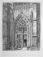 GERMANY Soest Portal of St. Maria Church- 1860 Original Engraving Print