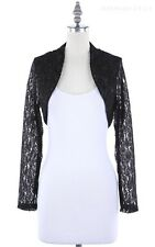 Floral Lace Open Front Long Sleeve Cropped Shrug Bolero Casual Cute S M L XL