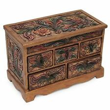 Jewelry Box Chest Handmade Leather Wood Floral Brown 'Antique Ivy' NOVICA Peru