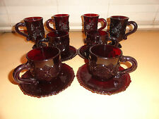 12 pcs Avon Cape Cod Ruby Red Mugs, Cups and Saucers