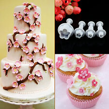 4Pcs Plum Blossom Flower Cutter Fondant Cake Sugarcraft Decorate Plunger Mould