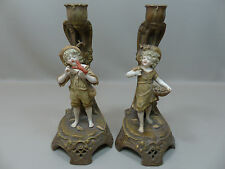 Rare Pair of Highly Detailed Ernst Wahliss Amphora Figural Candlesticks ca 1900