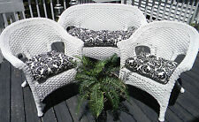 Cushions for Wicker 3 PC Set Black Ivory Floral Scroll Indoor Outdoor Universal