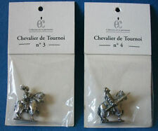 LOT DE 2 FIGURINES ETAIN CHEVALIER DE TOURNOI  ANTIQUITE / MOYEN AGE