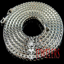 WHITE GOLD FINISH MENS WOMENS HIGH QUALITY 36 INCH FRANCO NECKLESS CHAIN 4MM