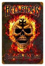 Biker Chopper Hellrider Flammen Iron Cross Skull Retro Sign Blechschild Schild