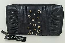 Apt 9 Womens Wallet Black Faux Leather New Zipper Gold Silver Studding NWT