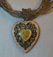 Pink Heart Necklace w/ Green and Pink Floral in the Middle of Pendant - 1928