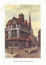 HASLEHUST VINTAGE PRINT : THE BLACK AND WHITE HOUSE HIGH TOWN HEREFORD