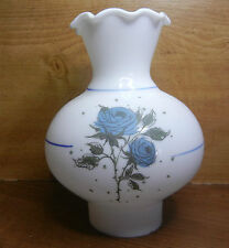 """7-3/4""""x 2-3/4"""" VTG MILK GLASS BULBOUS SHADE for OIL LAMP BLUE FLORAL ON FRONT"""