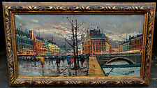 EUROPEAN STREET SCENE IN FALL ARCH BRIDGE OIL ON CANVAS FRAMED SIGNED by LENTERA
