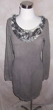 Christopher Banks Sweater Dress Small New Gray Satin Soutache Floral Trim