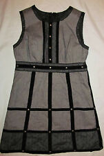 ANNA SUI GOSSIP GIRL herring bone studded steampunk goth shift dress 11 NWOT