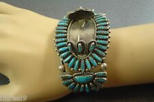 Vintage W BEGAY Sterling Silver Needle Peite Point TURQUOISE Watch Cuff Bracelet