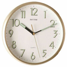 RHYTHM Gold Colour Wall Clock with Super Luminous Numbers and Hands - NEW!