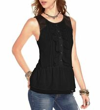 $88 New Free People Black Starlines Tuxedo Dobby Paint the Town Top Blouse S/ M