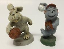 2 Pewter Animal Figurines Rabbit Bear Playing Basketball Baseball B. Ben Cordsen