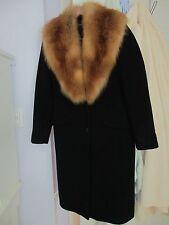 GIULIANA TESO WOMEN'S BLACK CASHMERE COAT FOX FUR COLLAR SZ. 10-12 GORGEOUS EUC