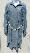 LRL Ralph Lauren Blue Chambray Cotton Denim Rope Belt Shirt Dress Sailing Polo