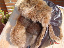 PILOT FLYING  Trapper Hat  leather look full Faux Fur Warm New Unique One Size