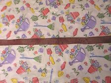 Vintage Pr. Vinyl Picnic Table Bench Covers Pastel Garden Tools and Flowers