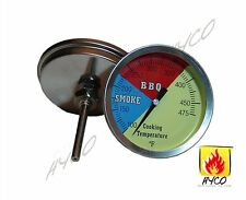 "HYCO 3"" 475F (2-pack) BBQ CHARCOAL GRILL PIT WOOD SMOKER TEMP GAUGE THERMOMETER"