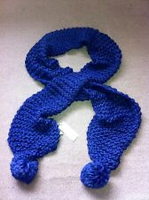 John Lewis Ladies Large Chunky Knitted Electric Navy Blue Scarf  Pom Pom BNWT
