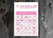 Pink Ballerina Dance Birthday Party Game Printable Bingo Cards