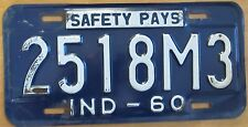 Indiana 1960 DEALER License Plate # 2518M3