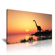 Dinosaurio Atardecer Lago tela pared arte Foto impresión 60x30cm