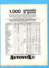 QUATTROR967-PUBBLICITA'/ADVERTISING-1967- AUTOVOX - LISTINO PREZZI AUTORADIO