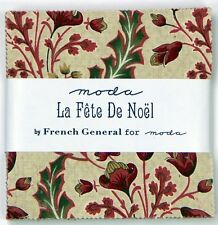 Moda Fabric Charm Pack LA FETE DE NOEL 100% Cotton Christmas Fabric Squares